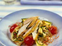 Frittierte Hähnchenbrust auf Zucchini Rezept
