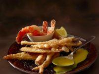 Frittierte Petersilienwurzel mit Shrimps Rezept
