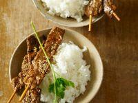 Frittierter Seitan auf Reis Rezept