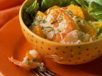Fruchtiger Reissalat mit Garnelen Rezept