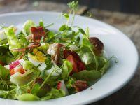 Frühlingshafter Salat mit hartem Ei und Bacon Rezept