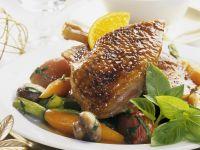 Gänsebraten mit gemischtem Gemüse und Orangensoße Rezept