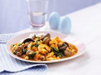 Garnelen-Curry mit Champignons und Spinat Rezept