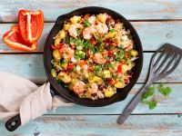 Garnelen-Reis-Pfanne mit Mango, Bohnen und Paprika Rezept