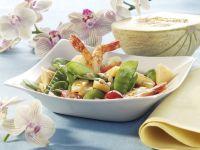 Garnelensalat mit Zuckerschoten und Melone Rezept