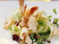 Garnelenschwänze mit Kresse-Gurken-Salat Rezept