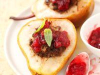 Gebackene Birnen mit Geflügelleberfüllung Rezept