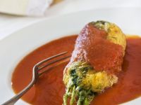 Gebackene Huauzontle mit Tomatensoße