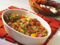 Gebackene Polenta mit Gemüse und Ei Rezept
