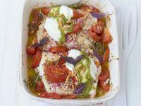 Gebackenes Seelachsfilet mit Tomaten
