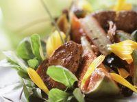 Gebratene Entenleber mit Feigen, Feldsalat und Rhabarber Rezept