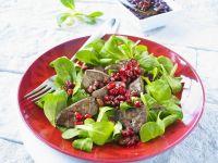 Gebratene Entenleber mit Feldsalat und Granatapfel
