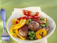 Gebratene Geflügelleber mit Gemüse Rezept