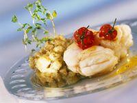 Gebratene Seeteufelmedaillons mit Auberginenmus Rezept