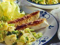 Gebratene Wollwurst mit Kartoffelsalat Rezept