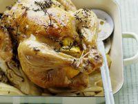 Gebratenes Hähnchen mit Fenchel und Zitrone