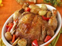 Gebratenes Hähnchen mit Gemüse Rezept
