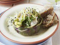 gefüllte Artischocke mit Zucchini und Camembert Rezept