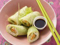 Gefüllte Asiaröllchen mit Wasabi