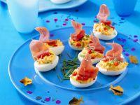 Gefüllte Eier mit Schinken