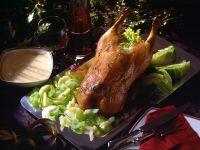 Gefüllte Ente auf Sellerie und Wirsing Rezept