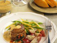 Gefüllte Filetsteaks mit Gemüse Rezept