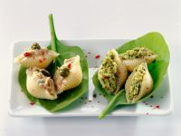 Gefüllte Muschelnudeln mit Thunfisch und Pesto Rezept