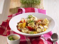 Gefüllte Nudeln mit Fleisch, Paprika und Orange Rezept