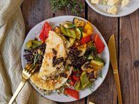 Gefüllte Sellerieschnitzel an Ofengemüse und Linsen Rezept