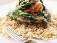 Gefüllter Pilz auf Reis Rezept