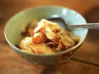 Gegarte Birnen mit Mandeln Rezept
