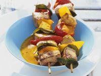Gegrillte Schweinefleisch-Gemüsespieße Rezept