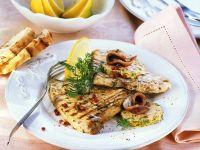 Gegrillter Schwertfisch mit Sardellenbutter