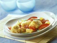 Gemüse-Ananas-Wok mit süß-saurem Fisch Rezept