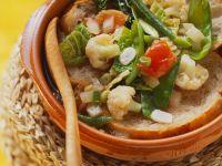 Gemüse auf Brot im Ofen gebacken Rezept