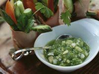 Gemüse-Kasslerröllchen mit Spargeldip Rezept