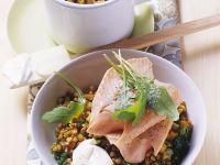 Gemüse mit Buchweizen und Fisch