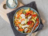Gemüse-Reis-Pfanne mit Ziegenkäse Rezept