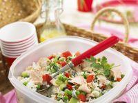 Gemüse-Reis-Salat mit Lachs