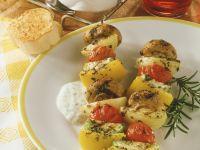 Gemüsespieße mit Kräuter-Dip Rezept