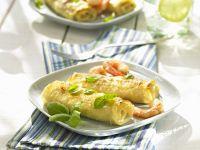 Gerollte Lasagneblätter mit Shrimps