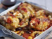 Geschmortes Hühnchen mit Gemüse-Tomatensoße Rezept
