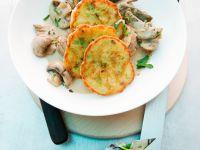 Geschnetzeltes mit Kartoffelküchlein