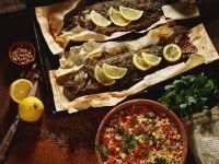 Gewürz-Lachsforellen mit Couscous Rezept
