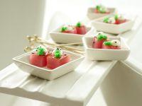 Glasierte Thunfischwürfel