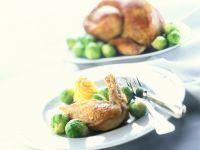 Glasierter Putenbraten mit Rosenkohl und Dauphin-Kartoffeln Rezept
