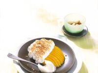 Gratinierte Mangospalten mit Baiserhaube Rezept