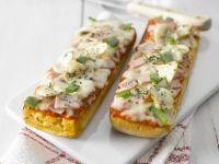 Gratiniertes Baguette mit Pilzen und Schinken Rezept