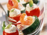 Gurken- und Tomaten-Häppchen mit Krabben