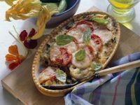 Hack-Gemüse-Gratin mit Tomaten und Mozzarella Rezept